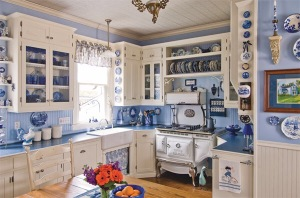 Stunning vintage blue kitchen to die for