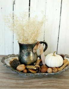 Vintage fall centrepiece in brass tray
