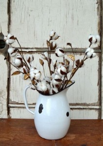 Fall decor in enamel pitcher
