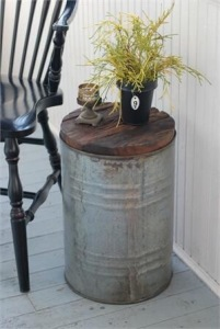 Vintage porch table from metal drum