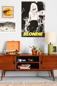 Retro tv stand with Blondie poster