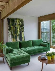 Vintage green velvet couch